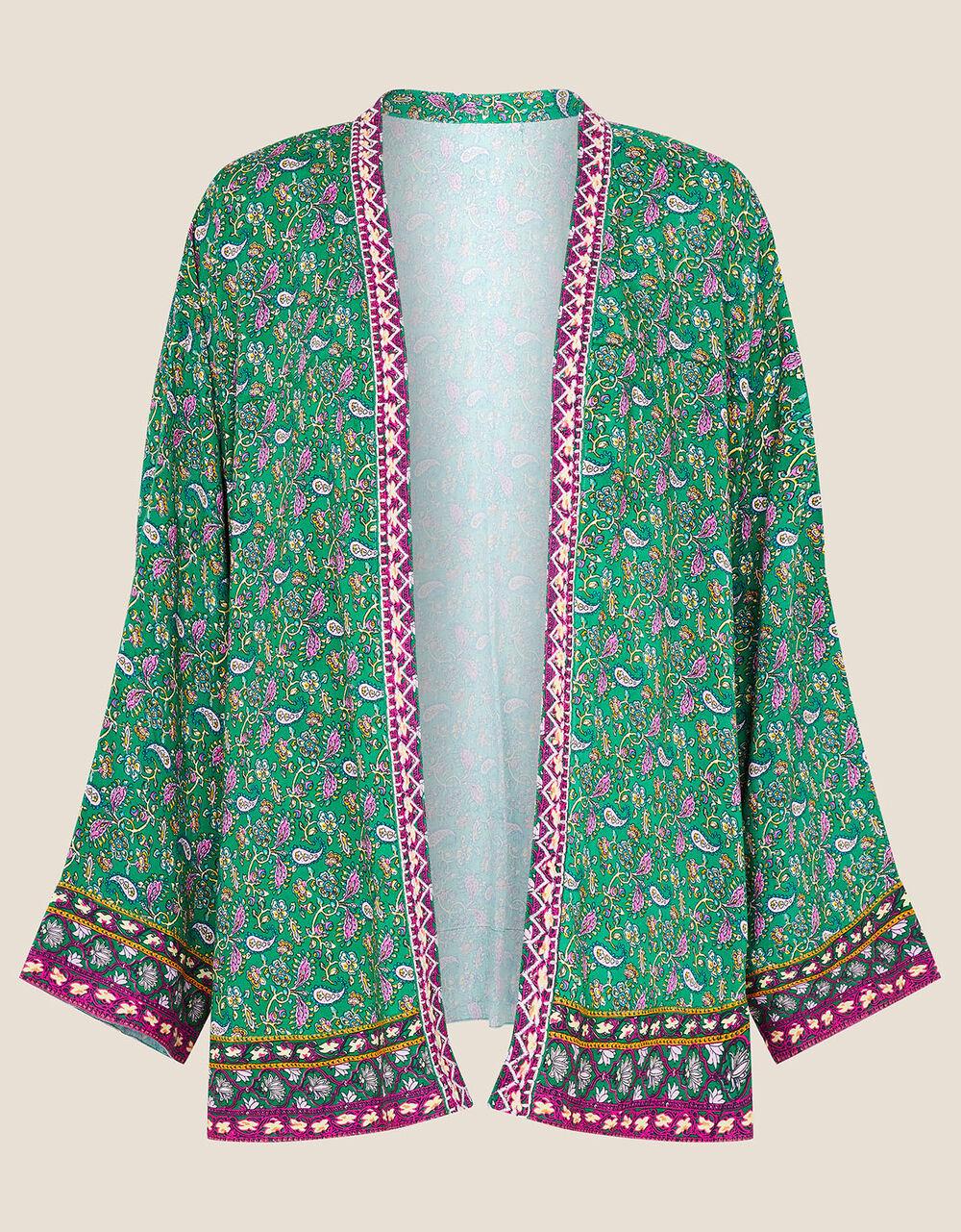 Paisley Print Kimono, Green (GREEN), large