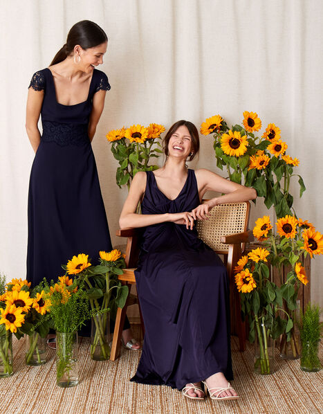 Amanda Lace Square Neck Dress  Blue, Blue (NAVY), large