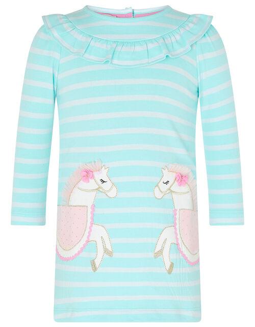 Baby Horse Stripe Sweat Dress in Organic Cotton, Blue (AQUA), large