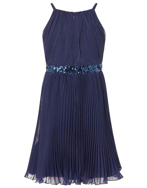 Sequin Waistband Chiffon Prom Dress, Blue (NAVY), large