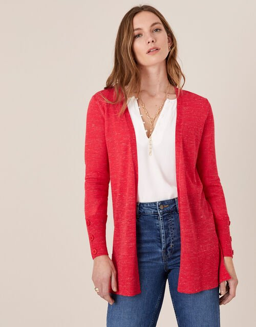 Button Cuff Cardigan in Linen Blend, Red (RED), large