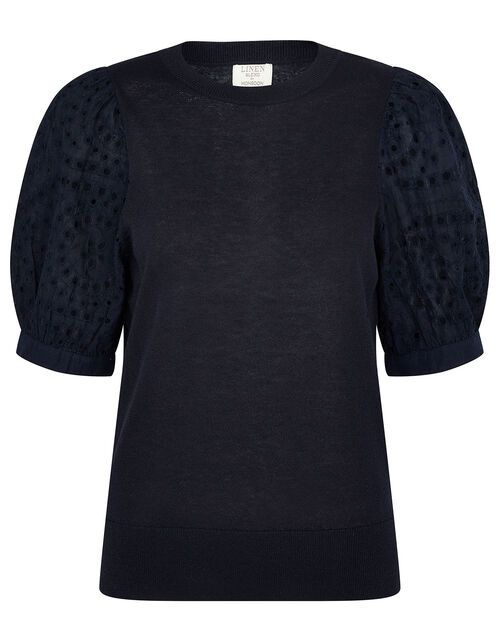 Broderie Sleeve Jumper in Linen Blend, Blue (NAVY), large