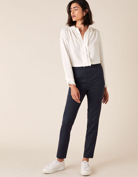 Smart Jacquard Trousers Blue, Blue (NAVY), large