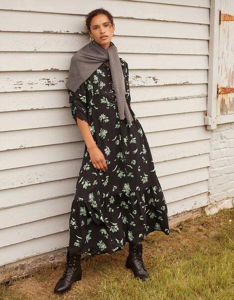 Embellished Floral Midi Dress Black, Black (BLACK), large