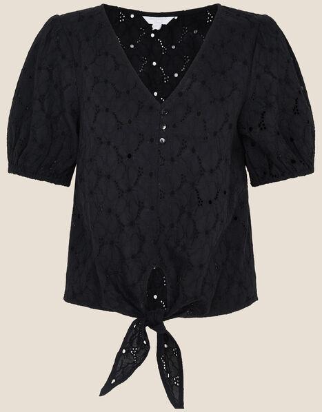 Tie Front Broderie Top Black, Black (BLACK), large