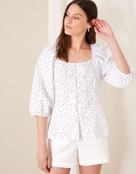 Tie Front Spot Print Blouse White, White (WHITE), large