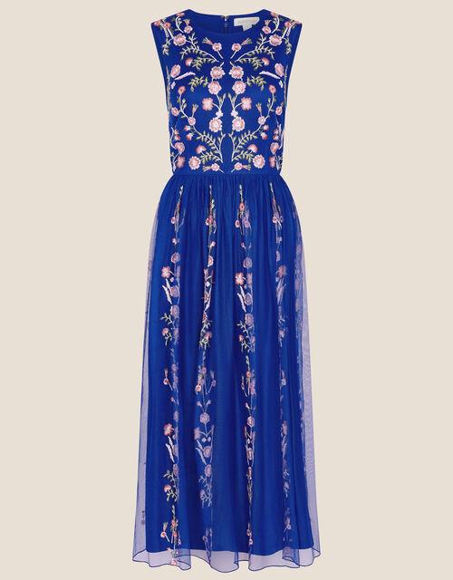 Cassia Floral Mesh Dress, Blue (COBALT), large