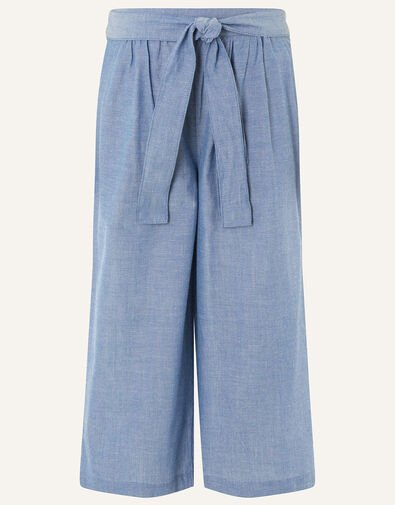 Wide Leg Chambray Trousers Blue, Blue (BLUE), large