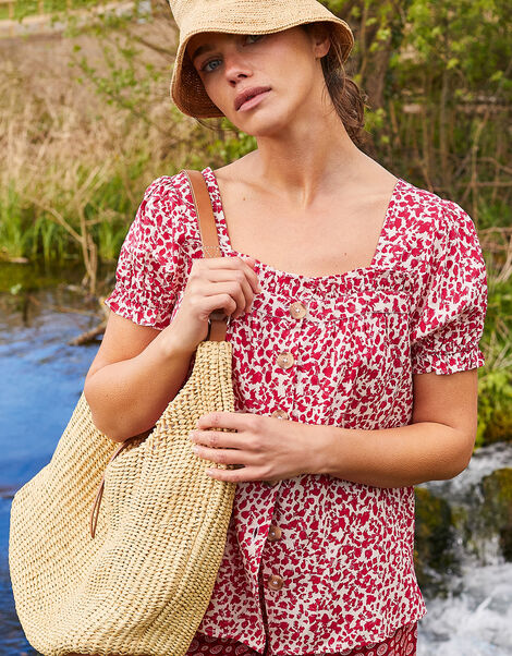 Sunita Printed Top in LENZING™ ECOVERO™ Red, Red (RED), large