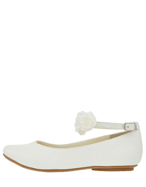 Amy Floral Strap Ballerina Shoes, Ivory (IVORY), large
