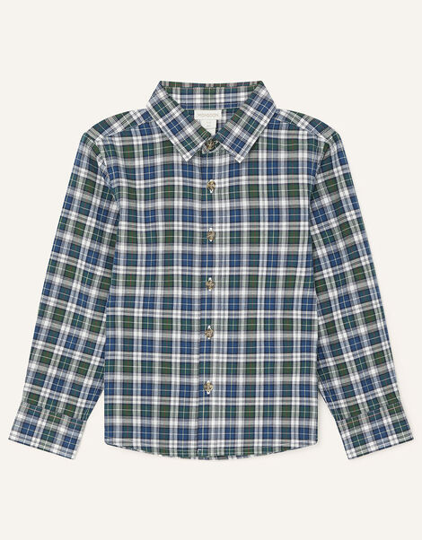 Check Shirt in Pure Cotton Green, Green (GREEN), large