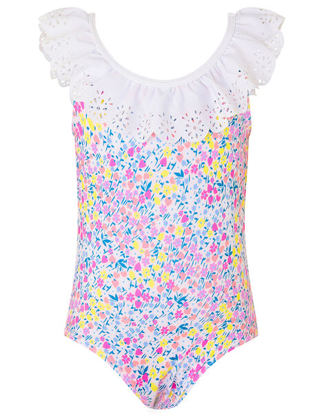 Baby Ditsy Floral Frill Swimsuit Pink, Pink (PINK), large