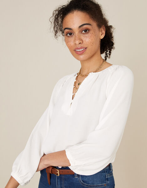Button Front Blouse with Sustainable Viscose Ivory, Ivory (IVORY), large