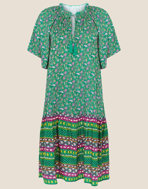 Paisley Print Tunic Dress, Green (GREEN), large