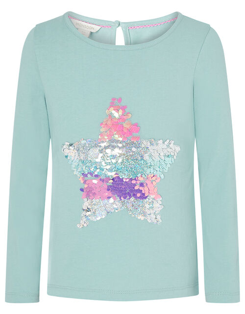 Sequin Star T-shirt in Organic Cotton, Blue (AQUA), large