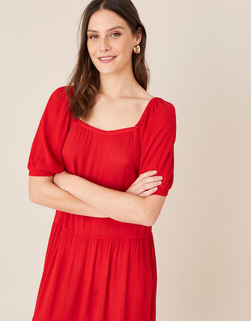Square Neck Midi Dress in LENZING™ ECOVERO™, Red (RED), large