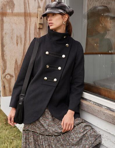 Lizzie Military Peacoat in Wool Blend Black, Black (BLACK), large