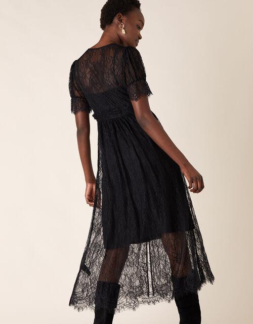 Miranda Eyelash Lace Tea Dress, Black (BLACK), large