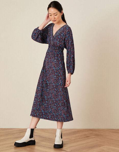 Delilah Dolman Embroidered Dress  Blue, Blue (NAVY), large