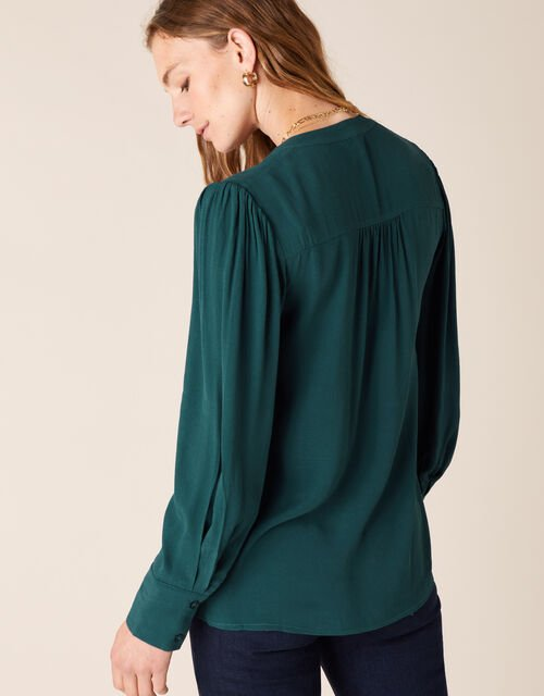 Tie Front Blouse with LENZING™ ECOVERO™, Green (DARK GREEN), large