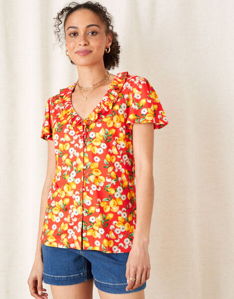 Lily Lemon Print Ruffle Top  Red, Red (RED), large