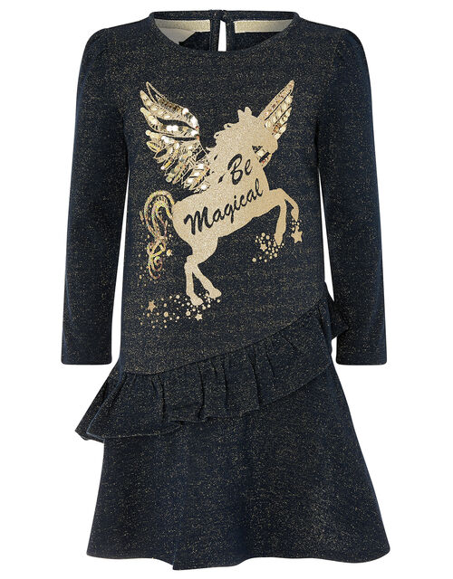 Be Magical Unicorn Sweat Dress, Blue (NAVY), large