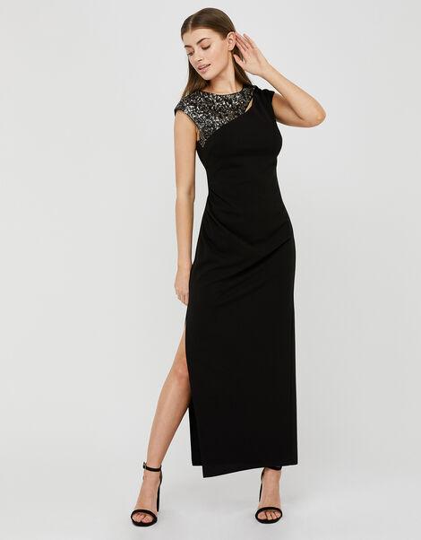 Ophelia Sequin Insert Stretch Maxi Dress Black, Black (BLACK), large