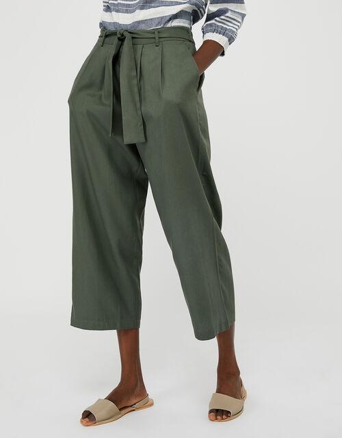 Marty Cropped Trousers in LENZING™ TENCEL™, Green (KHAKI), large