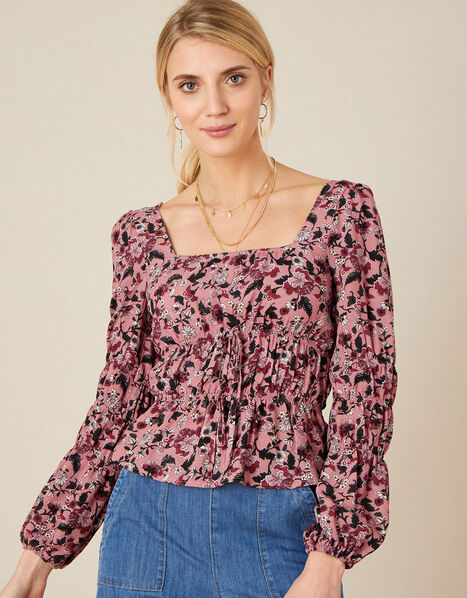 Sophie Floral Shirred Top Red, Red (RED), large