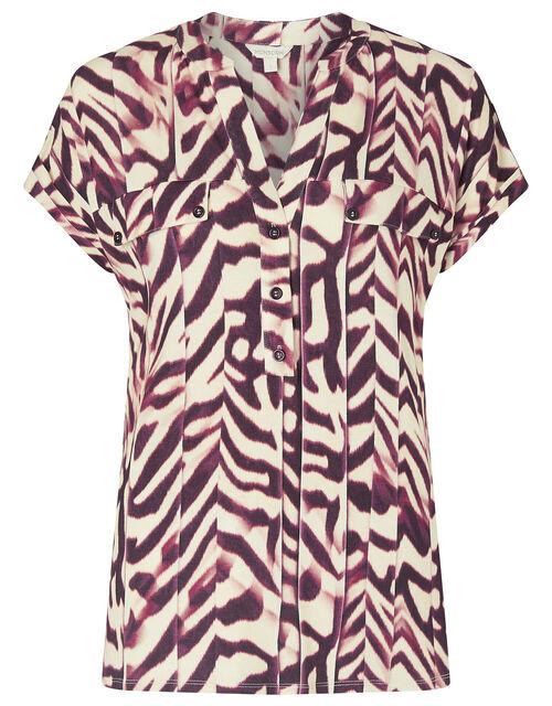 Animal Print Short Sleeve Shirt, Red (RED), large