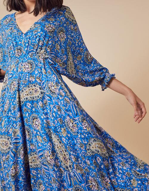 Paisley Hanky Hem Dress in LENZING™ ECOVERO™, Blue (BLUE), large