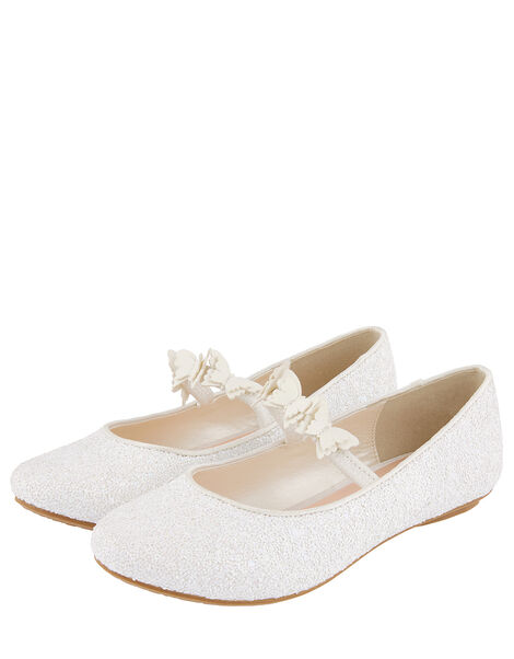 Glitter Butterfly Ballerina Shoes Ivory, Ivory (IVORY), large