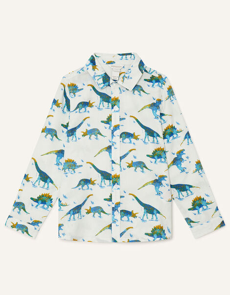 Dino Shirt in Pure Cotton Ivory, Ivory (IVORY), large