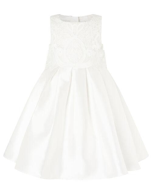 Lace Bodice Duchess Twill Dress, Ivory (IVORY), large
