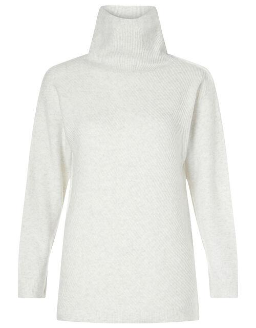 Zip Neck Knit Jumper, Grey (GREY), large
