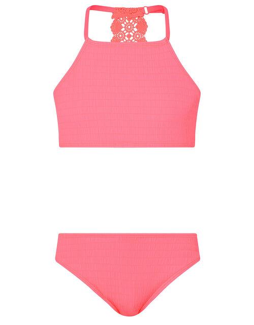 Crochet Insert Shirred Bikini Set, Orange (CORAL), large