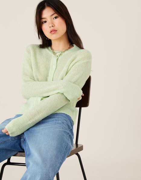 Button-Through Short Cardigan Green, Green (MINT), large