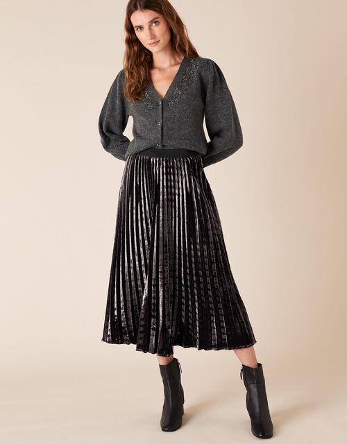 Pleated Velvet Midi Skirt, Purple (PURPLE), large