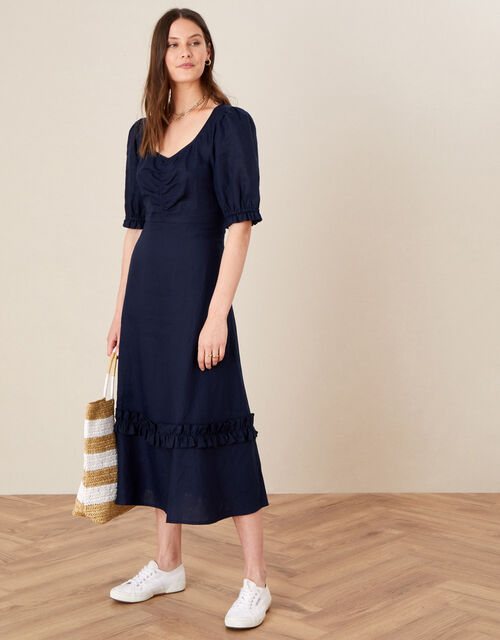 Frill Trim Dress in Pure Linen, Blue (NAVY), large