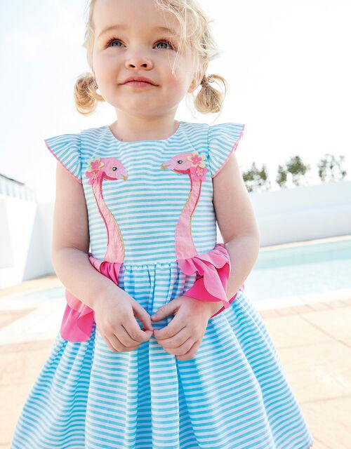Baby Stripe Flamingo Dress , Blue (BLUE), large