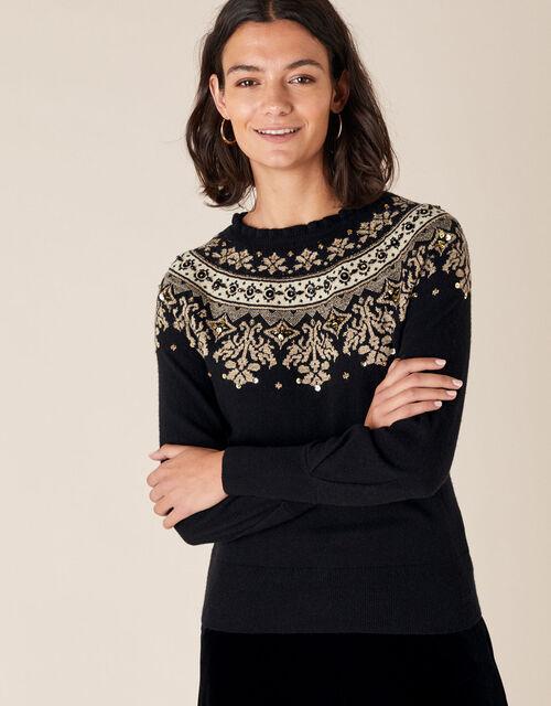 Embellished Fair Isle Knit Jumper, Black (BLACK), large