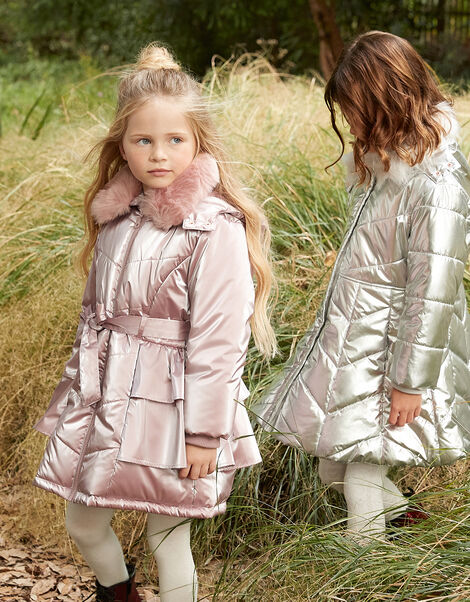 Frill Skirted Coat with Hood Pink, Pink (PINK), large