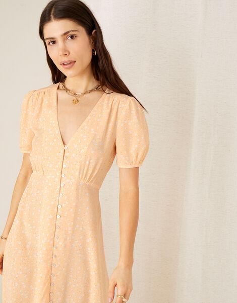 Printed Tea Dress in Sustainable Viscose Orange, Orange (PEACH), large