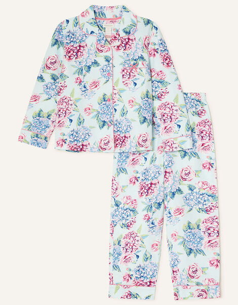 Elle Floral Pyjama Set Blue, Blue (AQUA), large