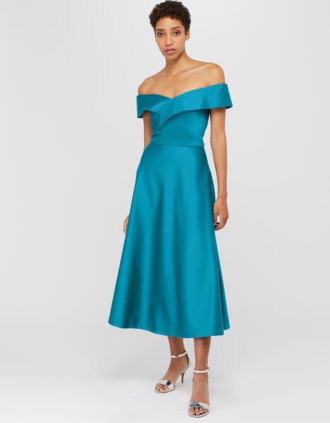 Sigourney Satin Midi Dress Teal, Teal (TEAL), large