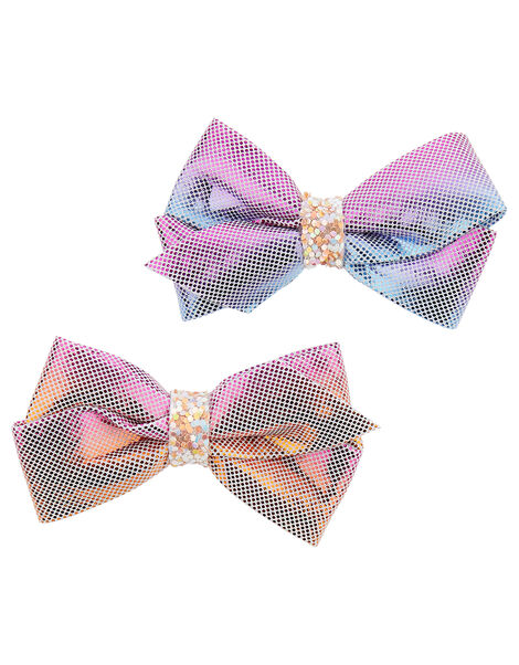 Rainbow Shimmer Bow Hair Clips , , large