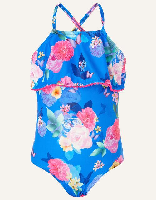 Floral Print Frill Swimsuit, Blue (BLUE), large