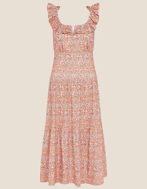 Ruffle Neck Printed Jersey Dress, Orange (ORANGE), large
