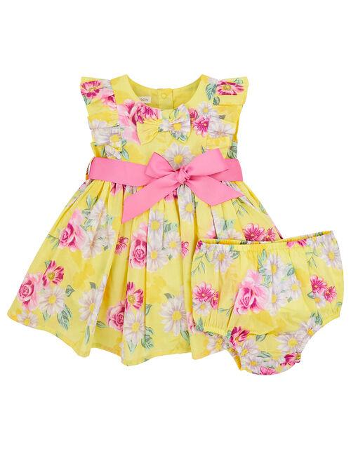 Newborn Baby Floral Dress Set, Yellow (YELLOW), large