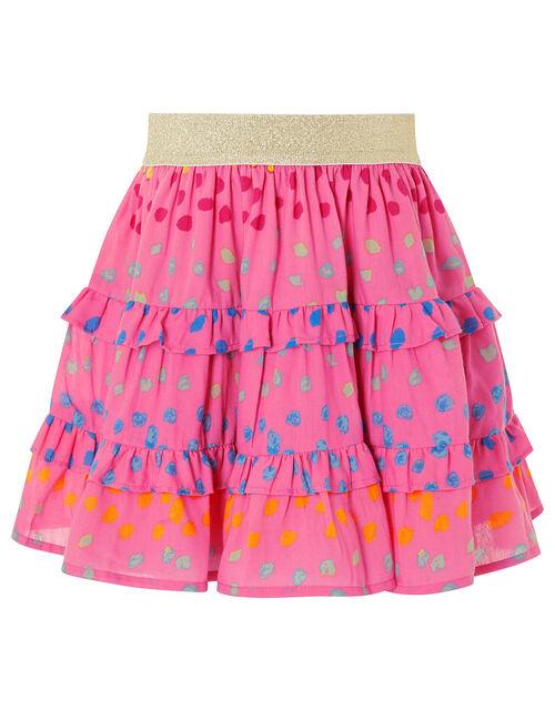Rainbow Spot Frill Skirt, Pink (BRIGHT PINK), large